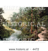 Historical Photochrom of a Nature Trail Along the Afon Troddi River Trothy in Monmouth Wales Monmouthshire Gwent England UK by Al