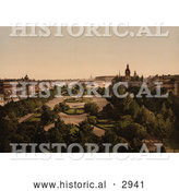 Historical Photochrom of a Park in Kungstradgarden, Stockholm, Sweden by Al