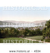 Historical Photochrom of a Path Leading down to the Lake in Windermere, Cumbria, Lake District, England by Al