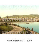 Historical Photochrom of a Pathway Along the Harbor, Zurich, Switzerland by Al