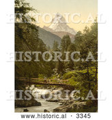 Historical Photochrom of a Person Crossing Vispach Bridge, Matterhorn Mountain by Al