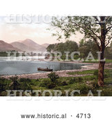 Historical Photochrom of a Person in a Boat on Derwent Water, Broomhill Point, Lake District, England by Al