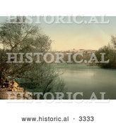 Historical Photochrom of a Place of Baptism on the River Jordan by Al