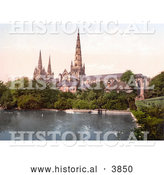 Historical Photochrom of a Pond and Garden on the South Side of the Lichfield Cathedral in Lichfield Staffordshire England UK by Al