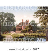 Historical Photochrom of a Pond by a Farmhouse in Royal Tunbridge Wells Kent England UK by Al
