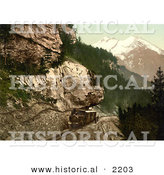 Historical Photochrom of a Railway Car Heading Uphill, Bernese Oberland, Switzerland by Al