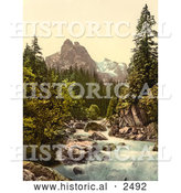 Historical Photochrom of a River and Wetterhorn Mountain, Switzerland by Al