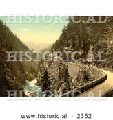 Historical Photochrom of a Road Along the Landwasser River by Al