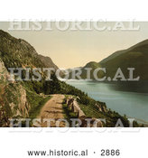 Historical Photochrom of a Road by Bandak Lake, Norway by Al