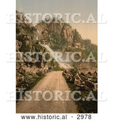Historical Photochrom of a Road Leading to a Waterfall, Norway by Al