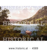 Historical Photochrom of a Roped Boat by the Shore at Rydal Water Lake District Cumbria England United Kingdom by Al