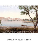 Historical Photochrom of a Rowboat on Still Waters of Scarfclose Bay and Mountains in the Background Derwentwater Lake District Cumbria England UK by Al