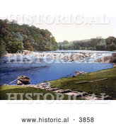 Historical Photochrom of a Rowboat on the Shore of the River Eden in the Lake District Armathwaite Cumbria England UK by Al