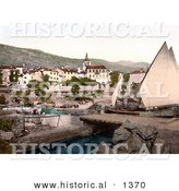 Historical Photochrom of a Sailboat at Opatija, Abbazia, Sankt Jakobi, Istria, Croatia by Al