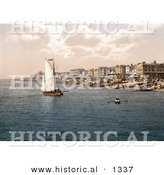 Historical Photochrom of a Sailboat by Bathing Machines and People on the Beach in Worthing West Sussex England UK by Al