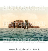 Historical Photochrom of a Sailboat by the North Point and Hengst, Heligoland, Germany by Al