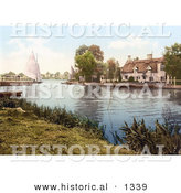 Historical Photochrom of a Sailboat near a Carriage on a Ferry, Crossing the River Bure in Horning Norfolk England by Al