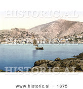 Historical Photochrom of a Sailboat near the Village of Lesina on Lesina Lake, Foggia, Puglia, Dalmatia by Al