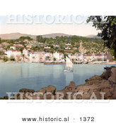 Historical Photochrom of a Sailboat near the Waterfront Village of Ika, Istria by Al