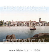 Historical Photochrom of a Sailboat near Veglia, Krk, Austro-Hungary by Al