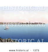 Historical Photochrom of a Sailboat near Zadar, Iadera, Zara, Croatia by Al