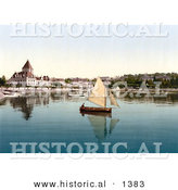 Historical Photochrom of a Sailboat on Geneva Lake at Ouchy, Lausanne, Switzerland by Al