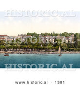 Historical Photochrom of a Sailboat on Geneva Lake near Hotel Beaurivage in Ouchy, Switzerland by Al