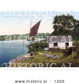 Historical Photochrom of a Sailboat on the Bure River near a Hut in Norfolk England by Al
