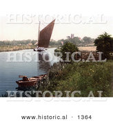 Historical Photochrom of a Sailboat on the River Bure in Belaugh, Norfolk, England by Al