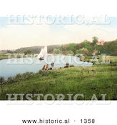 Historical Photochrom of a Sailboat on the River Yare, a Sailboat in the Background, Bramerton, South Norfolk, England by Al