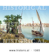 Historical Photochrom of a Sailing Boat on the Nile, Cairo, Egypt by Al