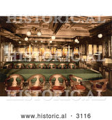 Historical Photochrom of a Second Class Dining Room by Al