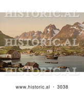 Historical Photochrom of a Ship and Waterfront Homes, Raftsund, Lofoten, Digermulen, Norway by Al