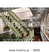 Historical Photochrom of a Staircase on the Konig Albert, North German Lloyd, Royal Mail Steamers by Al