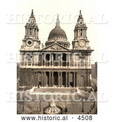 Historical Photochrom of a Statue of Queen Anne in Front of the West Side of St Paul's Cathedral on Ludgate Hill in London, England by Al