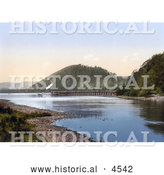 Historical Photochrom of a Steamboat at the Pooley Bridge Pier on Ullswater Lake Lake District England UK by Al
