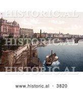 Historical Photochrom of a Steamboat near Cleopatra's Needle Obelisk Along the Thames River Embankment London England UK by Al