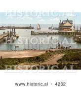 Historical Photochrom of a Steamer and Sailboats in the Harbour of Lowestoft Waveney Suffolk East Anglia England UK by Al