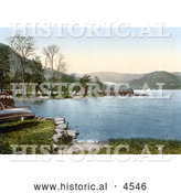 Historical Photochrom of a Steamer at the Howtown Pier on Ullswater Lake District England United Kingdom by Al
