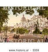 Historical Photochrom of a Street Scene at the Grand Hotel Victoria, Interlaken by Al
