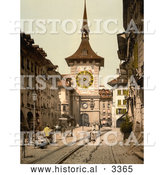 Historical Photochrom of a Street Scene in Berne Switzerland by Al