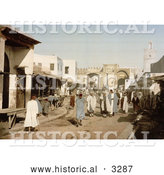 Historical Photochrom of a Street Scene with People in Kairwan, Tunisia by Al