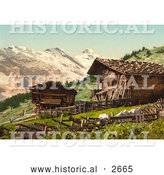 Historical Photochrom of a Swiss House near Mountains by Al