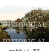 Historical Photochrom of a the Cliveden Mansion on a Hill over the River Thames in Cliveden Reach Maidenhead Berkshire London England UK by Al