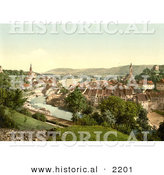Historical Photochrom of a Town of Aargau in Switzerland by Al