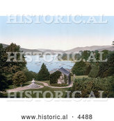 Historical Photochrom of a View of the Gardens and Boats on the Lake from Belsfield Hotel, Windermere, Cumbria, Lake District, England by Al