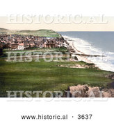 Historical Photochrom of a View on the Coastal Town of Sheringham As Seen from the East Cliff in Norfolk England UK by Al