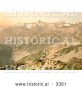 Historical Photochrom of a Viewpoint of Furka Pass, Switzerland by Al