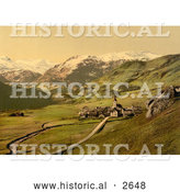 Historical Photochrom of a Village near the Swiss Alps, Bernese Oberland by Al