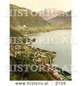 Historical Photochrom of a Village on Geneva Lake by Al